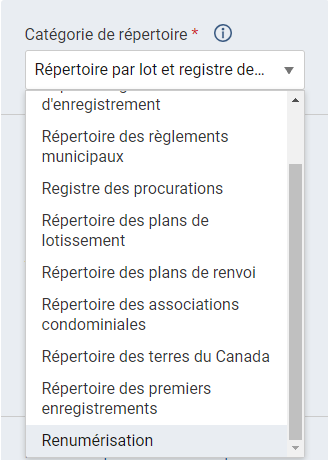 L'option Renumérisation est sélectionnée dans la liste déroulante Catégorie de répertoire