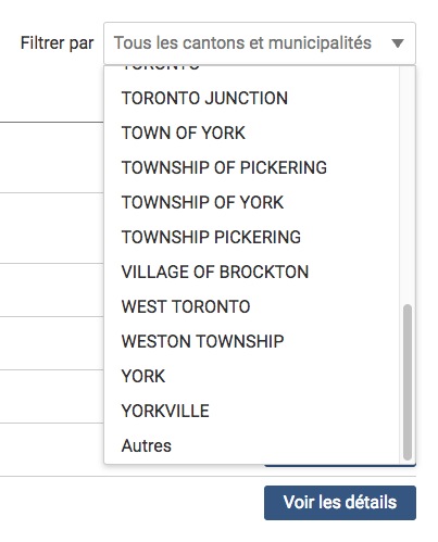 Une image des options de filtration de canton ou municipalité