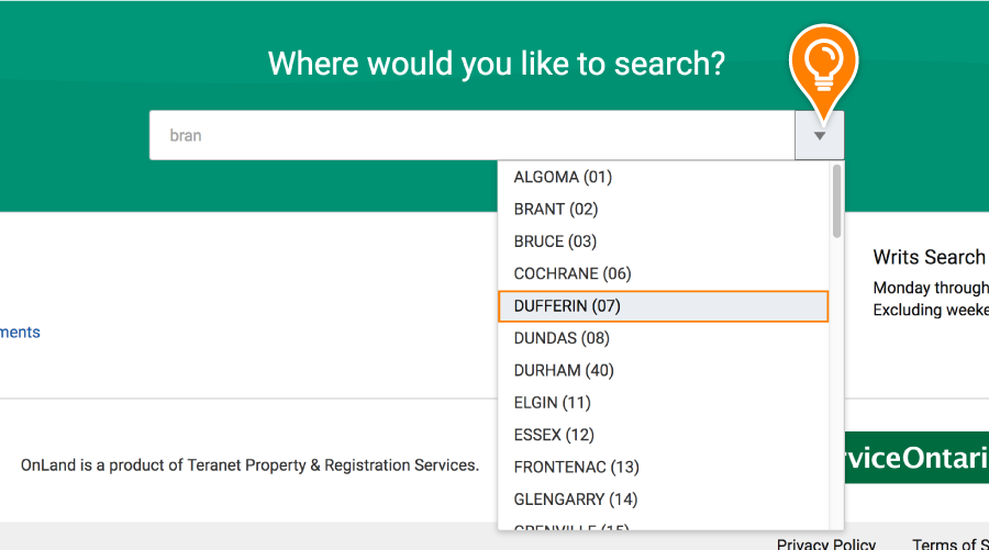 An LRO is selected in the Where would you like to search drop-down list