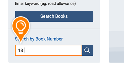 The number 18 is entered into the Search by Book Number field
