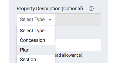 Image of the Property Description dropdown list