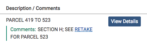 In the Description/Comments column, the word RETAKE is a link