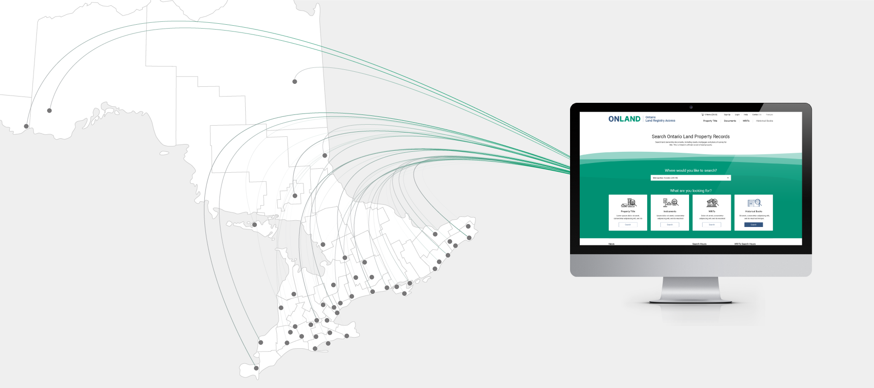 Sample of the OnLand home page next to a map