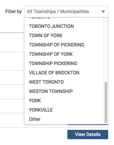 Image of the Township/Municipality Filter option